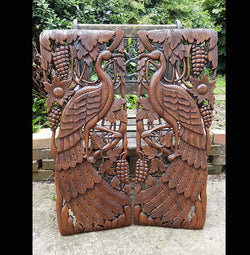 Carved Solid Wood 3ft 2 Piece Birds Wall Panels - AsianWoodCraft.com