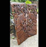 Carved Solid Wood 3ft 2 Piece Birds Wall Panels - AsianWoodCraftUK