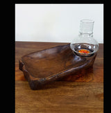 Teak Wood Shallow Bowl Tea Light Holder With Glass - AsianWoodCraftUK