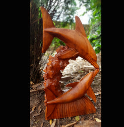 Double Dolphin with Coral Carving 50cm - AsianWoodCraftUK