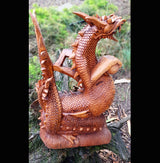Twin Dragon Carved Wooden Sculpture 50cm - AsianWoodCraftUK