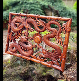 Oriental Triple Dragon wood carving wall panel - AsianWoodCraftUK