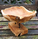 Rustic teak root bowl on stand
