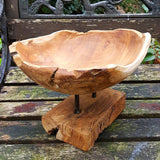 Carved Teak Root Bowl On Stand