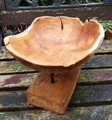 Carved Teak Root Bowl On Stand - AsianWoodCraftUK