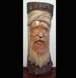 HandCarved Half Log Greenman 40cm - AsianWoodCraftUK
