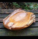 Hand Carved Solid Distressed Teak Wood Bowl Medium - AsianWoodCraftUK