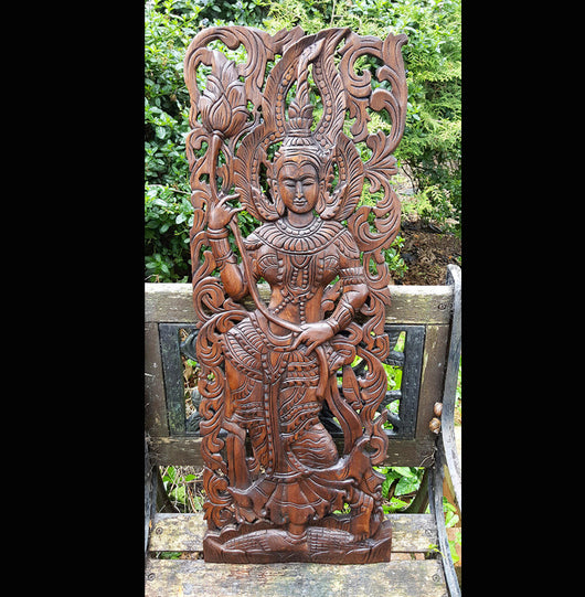 Carved Solid Wood 3ft Asian Dancer Wall Panel - AsianWoodCraftUK