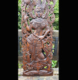 Carved Solid Wood 3ft Asian Dancer Wall Panel