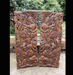Carved Solid Wood 3ft 2 Piece Asian Dancers Wall Panels - AsianWoodCraft.com
