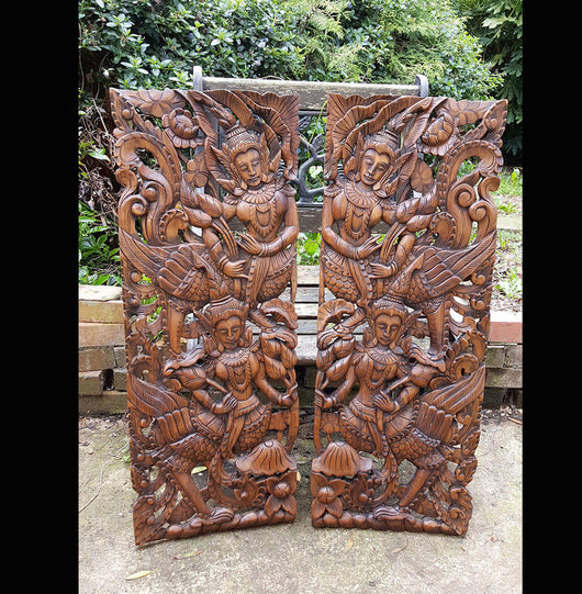 Carved Solid Wood 3ft 2 Piece Asian Dancers Wall Panels - AsianWoodCraftUK