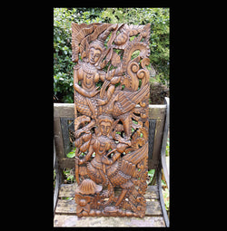 Carved Solid Wood 3ft Asian Dancers Wall Panel 01