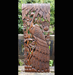 Carved Solid Wood 3ft Bird & Rose Wall Panel - AsianWoodCraft.com