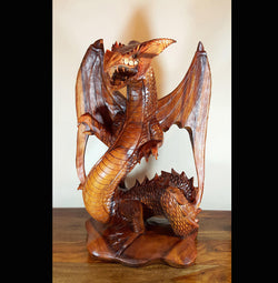 Carved 50cm Winged Dragon Sculpture - AsianWoodCraft.com