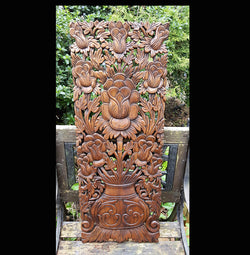 Carved Solid Wood 3ft Lotus Flower Wall Panel Decoration - AsianWoodCraft.com