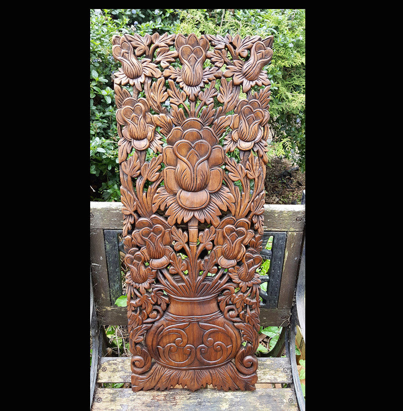 Carved Solid Wood 3ft Lotus Flower Carvings Wall Decoration