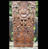 Carved Solid Wood 3ft Lotus Flower Wall Panel Decoration - AsianWoodCraftUK