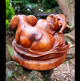 Elephant double circle wood carving - AsianWoodCraftUK