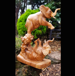 Twin 40cm Elephants Playing Wooden Carved Sculpture - AsianWoodCraftUK