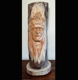 Hand Carved Full Log Indian Chief 50cm Greenman carvings - AsianWoodCraftUK