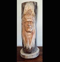 Hand Carved Full Log Indian Chief 50cm Greenman carvings - AsianWoodCraft.com