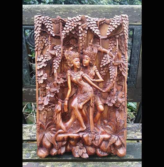 Hand Carved Relief Asian Wood carving