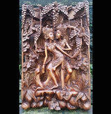 Master Carved Lovers and Deer,Hand Carved Relief Wall Panel.Wall Art