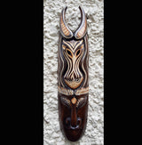 Hand Painted Carved Gazelle 50cm Wall Mask - AsianWoodCraftUK