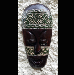 Hand Painted Hand Etched 30cm Batik Style Wall Mask - AsianWoodCraftUK