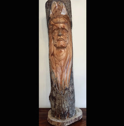 Indian Chief Full Log Greenman Carving 80cm - AsianWoodCraftUK