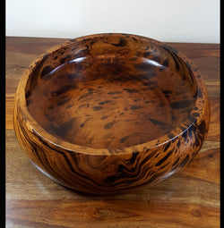 Mango wood large rounded edge fruit bowl - AsianWoodCraftUK