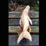 Parasite Wood Whale Carving,Sealife,Whale Watching - AsianWoodCraftUK