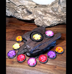 Reclaimed Teak Wood Tea Light Holder and 10 Orchid Style Tea Lights - AsianWoodCraftUK