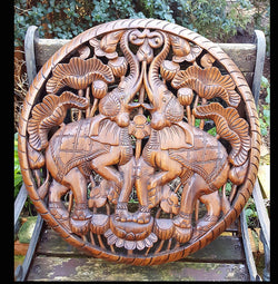 Carved Solid Wood 2ft Rounded Elephant Wall Panel - AsianWoodCraft.com