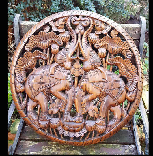 Carved Solid Wood 2ft Rounded Elephant Wall Panel - AsianWoodCraftUK