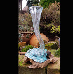 Hand Made Glass Vase with Teak Root Base - AsianWoodCraftUK