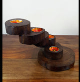 Teak Wood 5 Twist Tea Light Holder - AsianWoodCraftUK