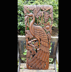 Carved Solid Wood 3ft Bird Left Facing Wall Panel - AsianWoodCraft.com