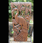 Carved Solid Wood 3ft Bird Left Facing Wall Panel - AsianWoodCraftUK