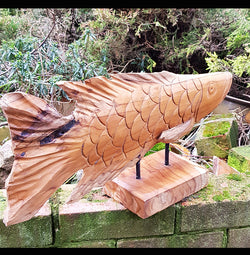 Hand Carved Teak Root Fish Koi Carp - AsianWoodCraftUK