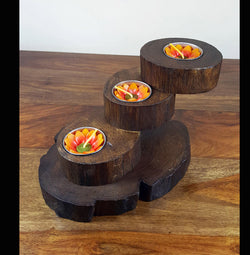 Teak Wood 3 Twist Tea Light Holder - AsianWoodCraftUK