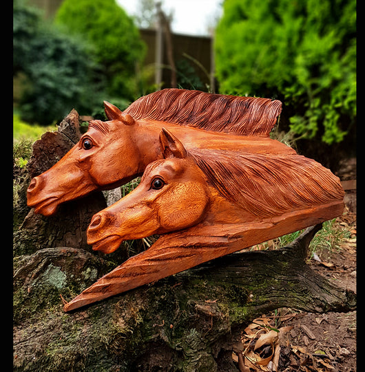 Double long Horse Head Carving - AsianWoodCraftUK