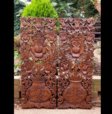 Carved Wooden 3ft 2 Piece Lilies Flowers Wall Panels Wall Hangings - AsianWoodCraftUK