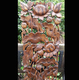 Carved Solid Wood 3ft Water Lilies Wall Panel - AsianWoodCraft.com