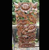Carved Solid Wood 3ft Water Lilies Wall Panel - AsianWoodCraftUK
