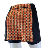 Exercise skirt with back zippered pocket. Holds any size smart phone.
