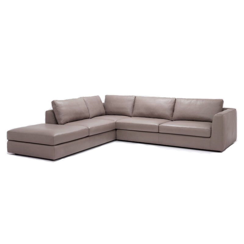 Gentil Cello 3 Piece Sectional With Backless Chaise   Leather