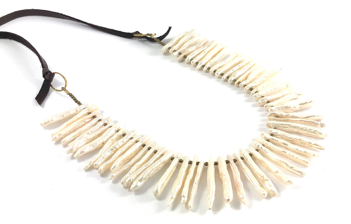 Biwa Pearl Beads on Leather Necklace