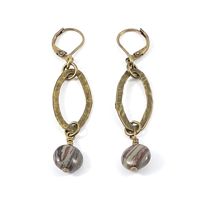 Bronze Oval Earrings
