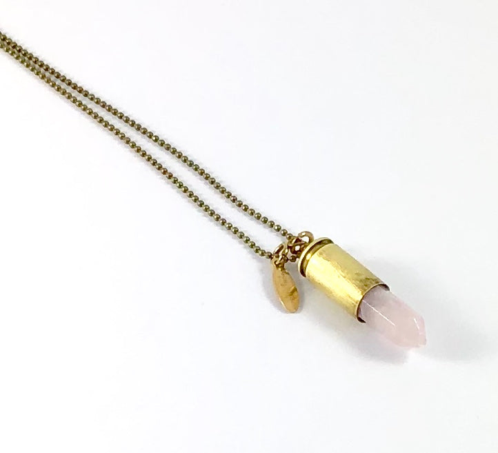 Casing Collection Necklace - Rose Quartz Point